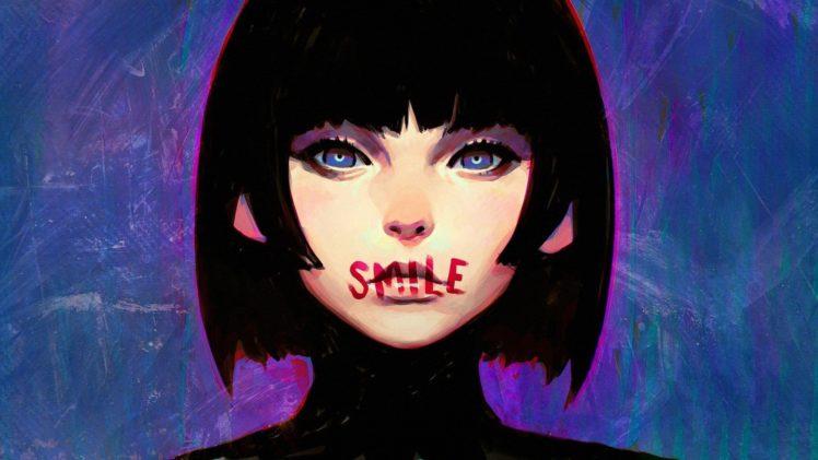 girl with short blue hair Anime