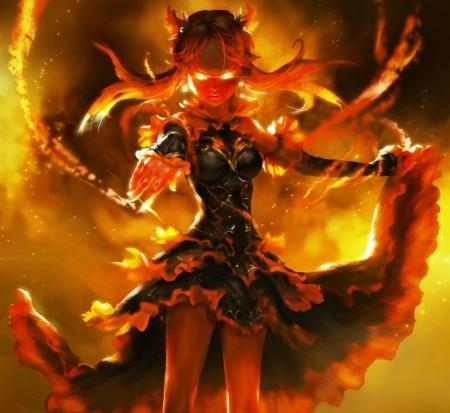 demon Anime girl fire