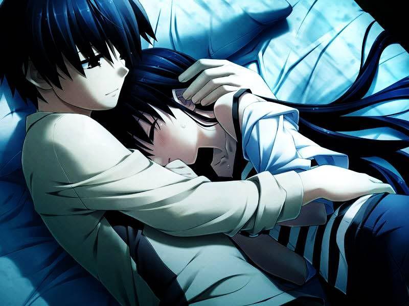 couple sleeping anime Cute
