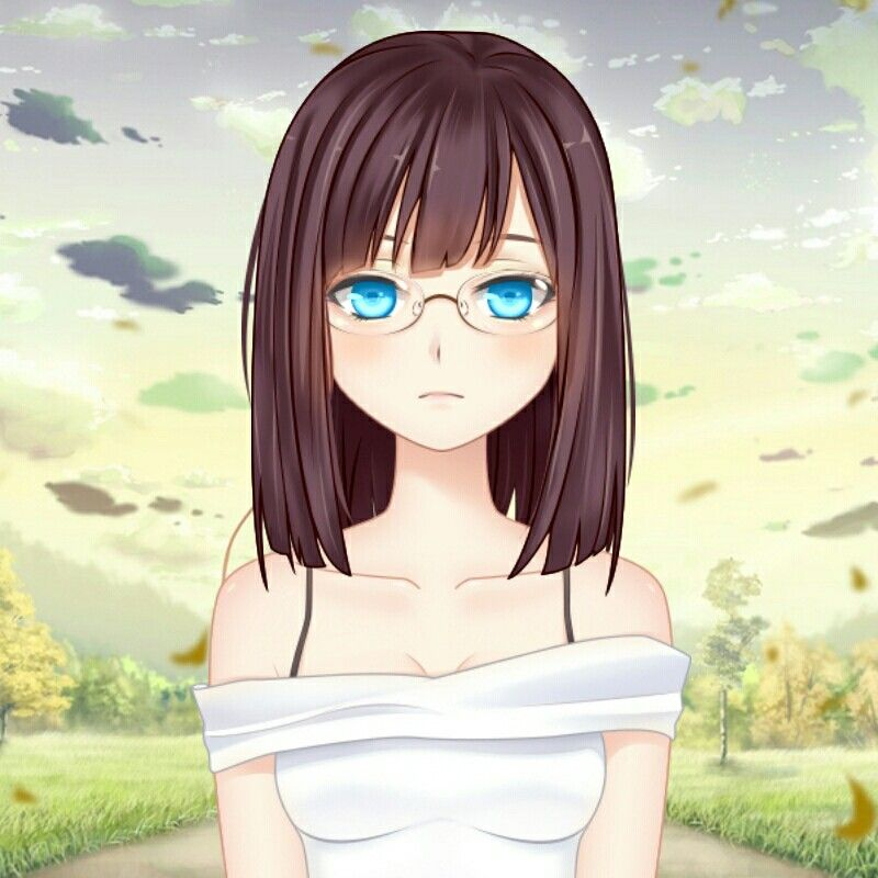 brown with eyes brown and and girl hair glasses Anime