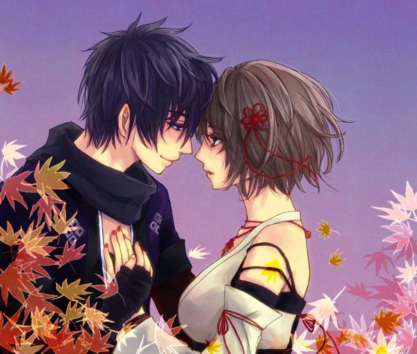brown hair couple Anime