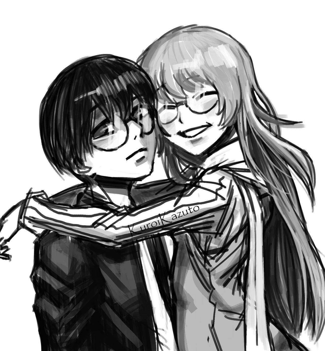 Anime couple with glasses
