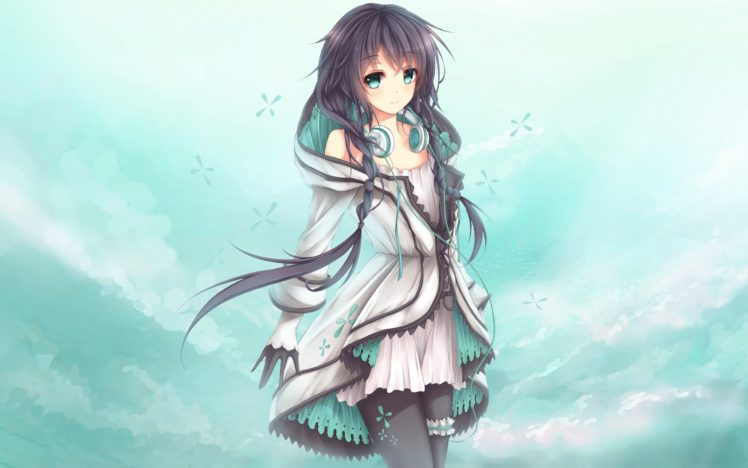 hair green dark Anime with girl