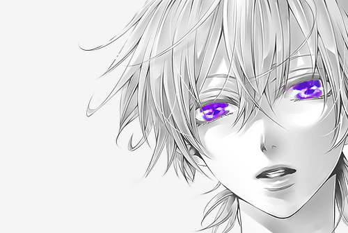 eyes with Anime purple blonde boy and hair