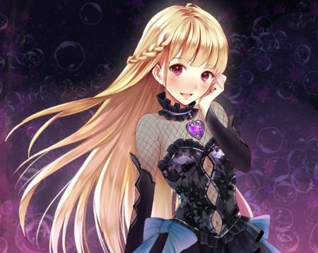 hair purple eyes girl blonde Anime