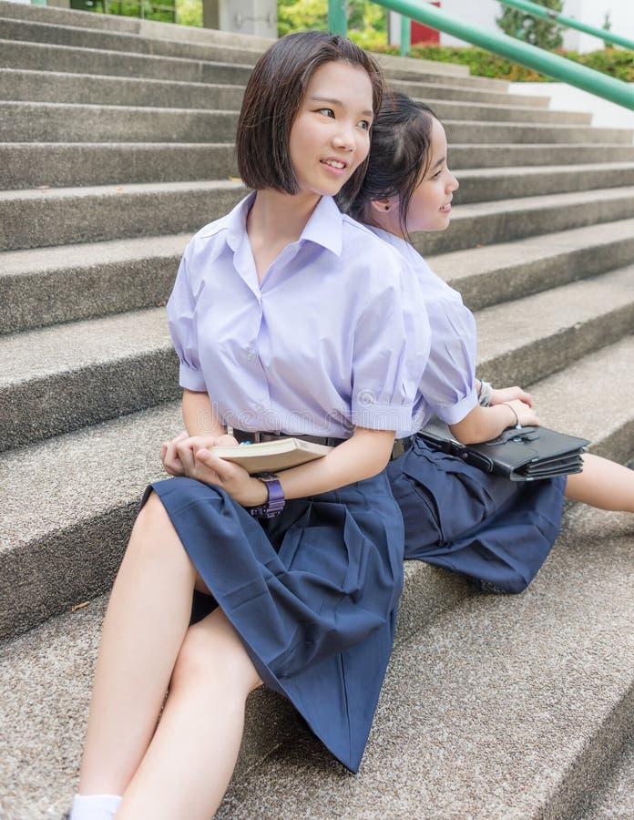 uniform asian Couple outdoor