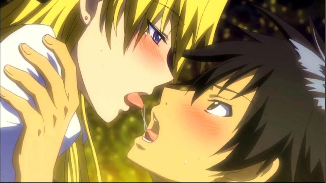 scenes kiss Hot anime