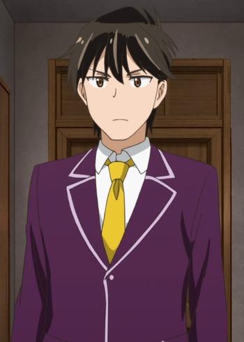 with Anime hair guy purple