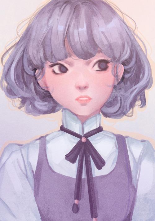 with tumblr girl hair Anime silver