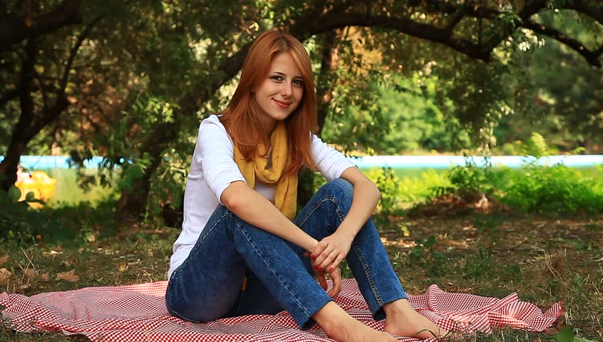 Outdoor woman asian redhead