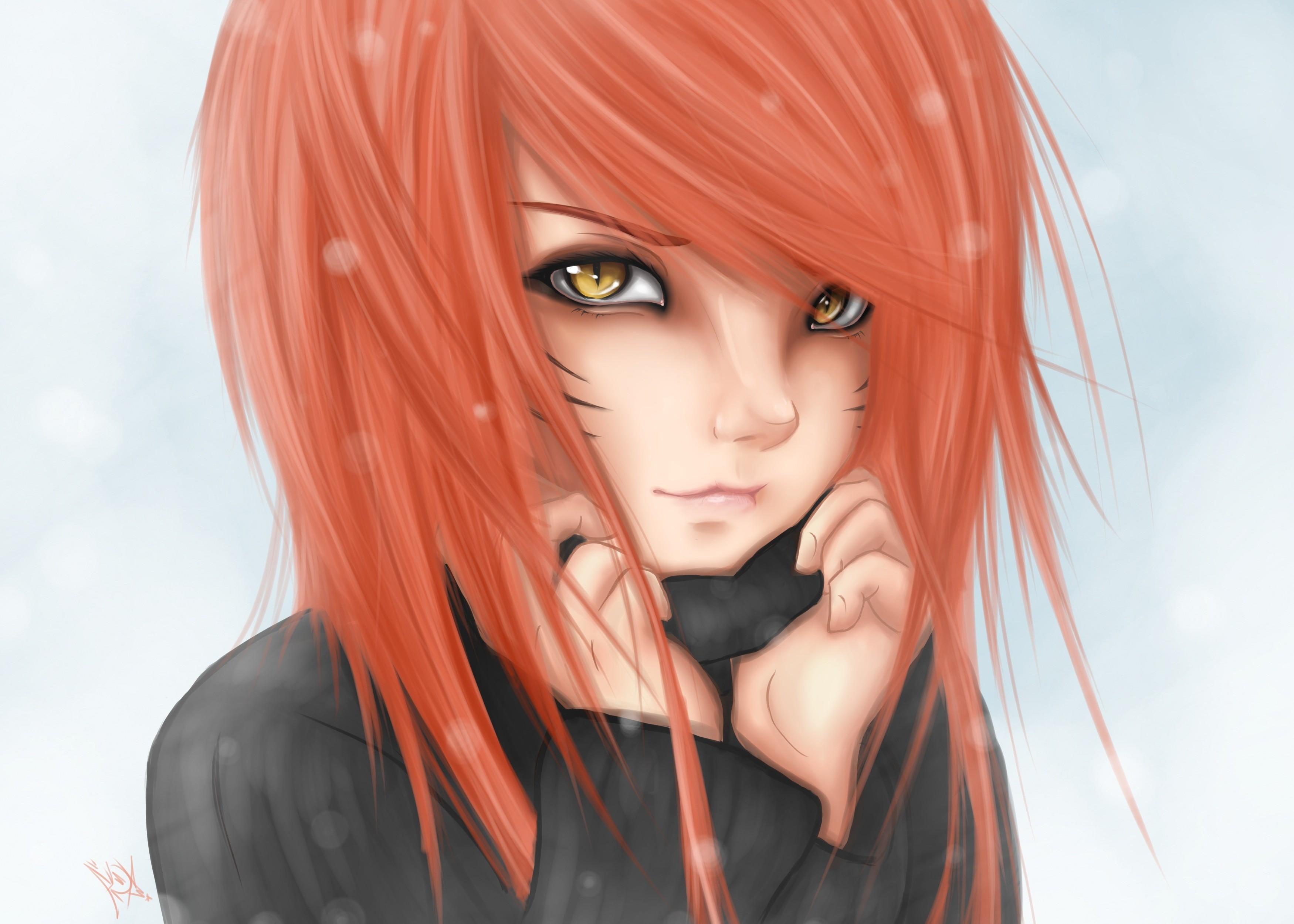 eyes Anime girl brown hair red