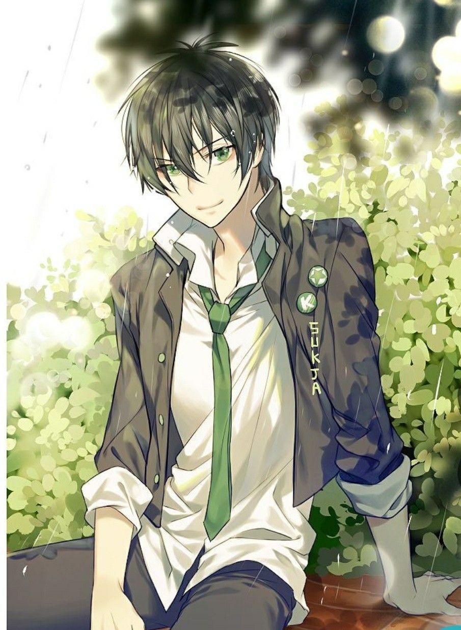 anime male hair Black eyes brown