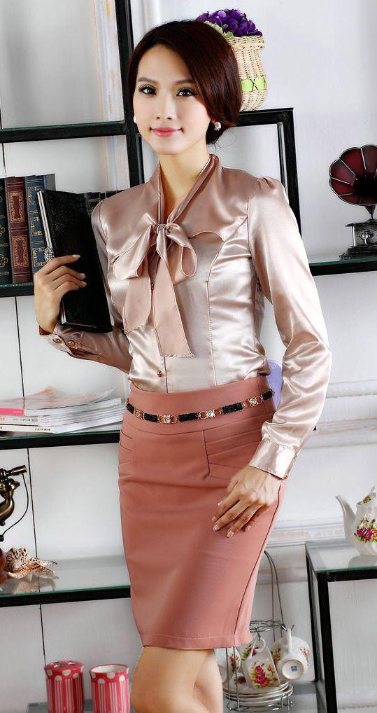 secretary curly Asian mature