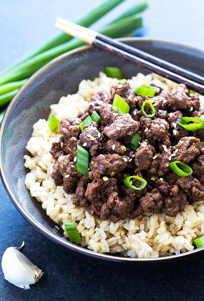 Asian rice porridge with ground beef