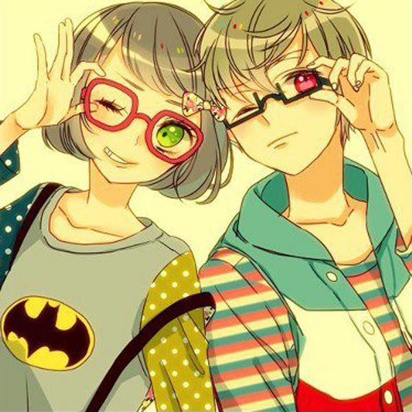 couple with glasses Anime