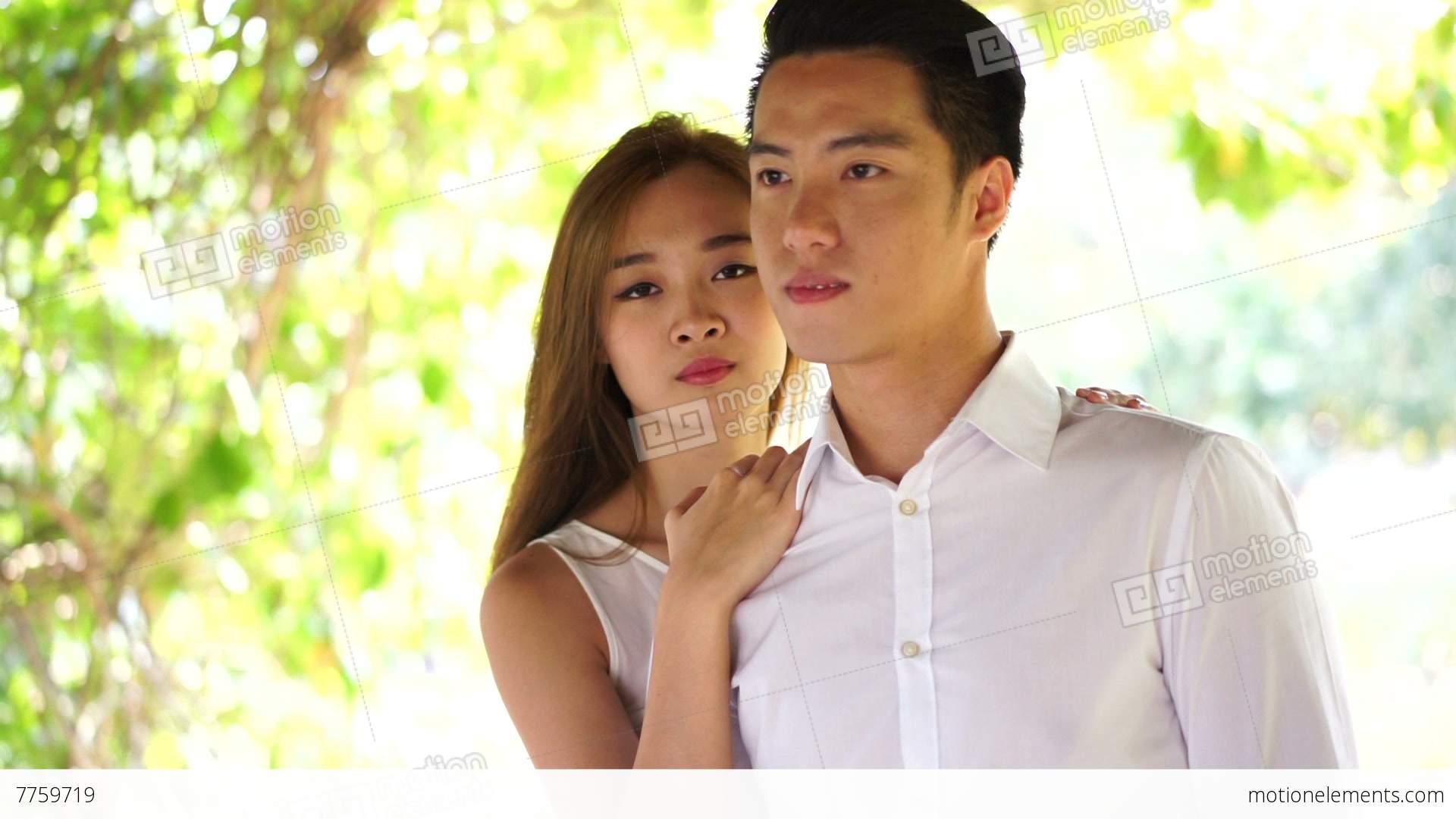 Couple uniform outdoor asian