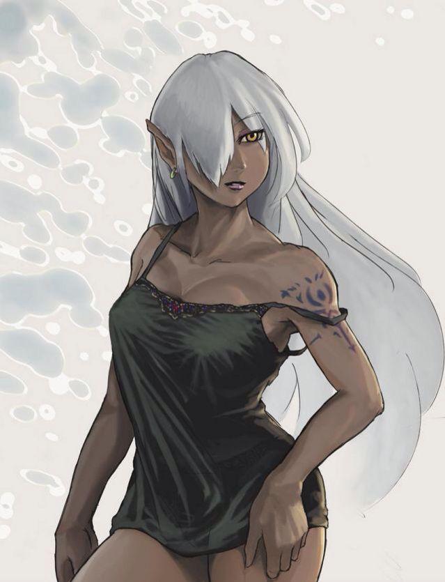 elf anime Dark skinned